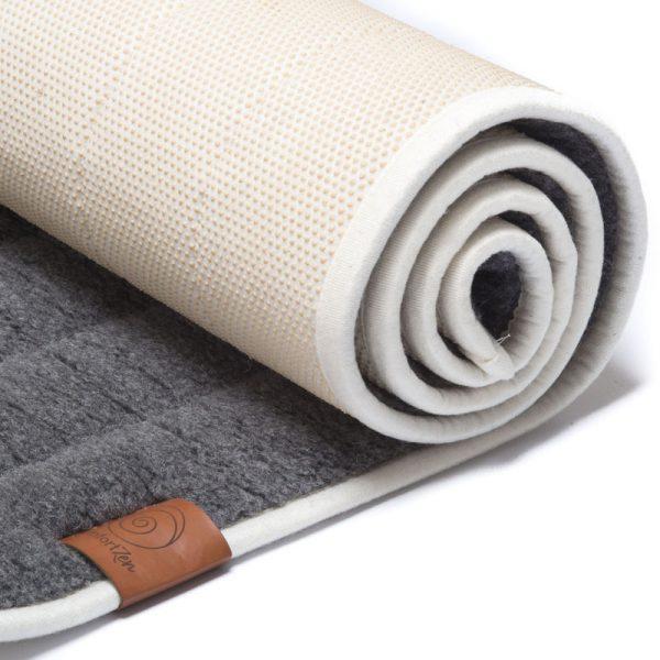100% zuiver wollen yogamat uitgerold, antraciet