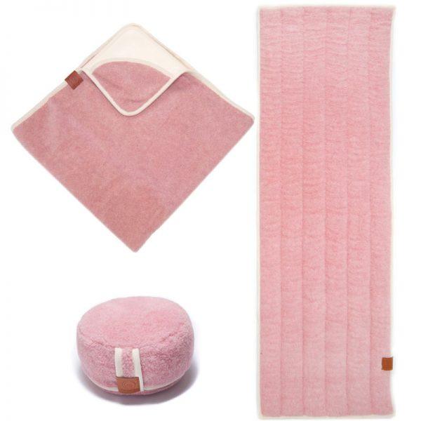 100 % zuiver wollen yogaset roze